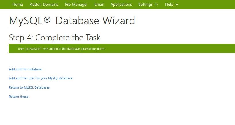 database created
