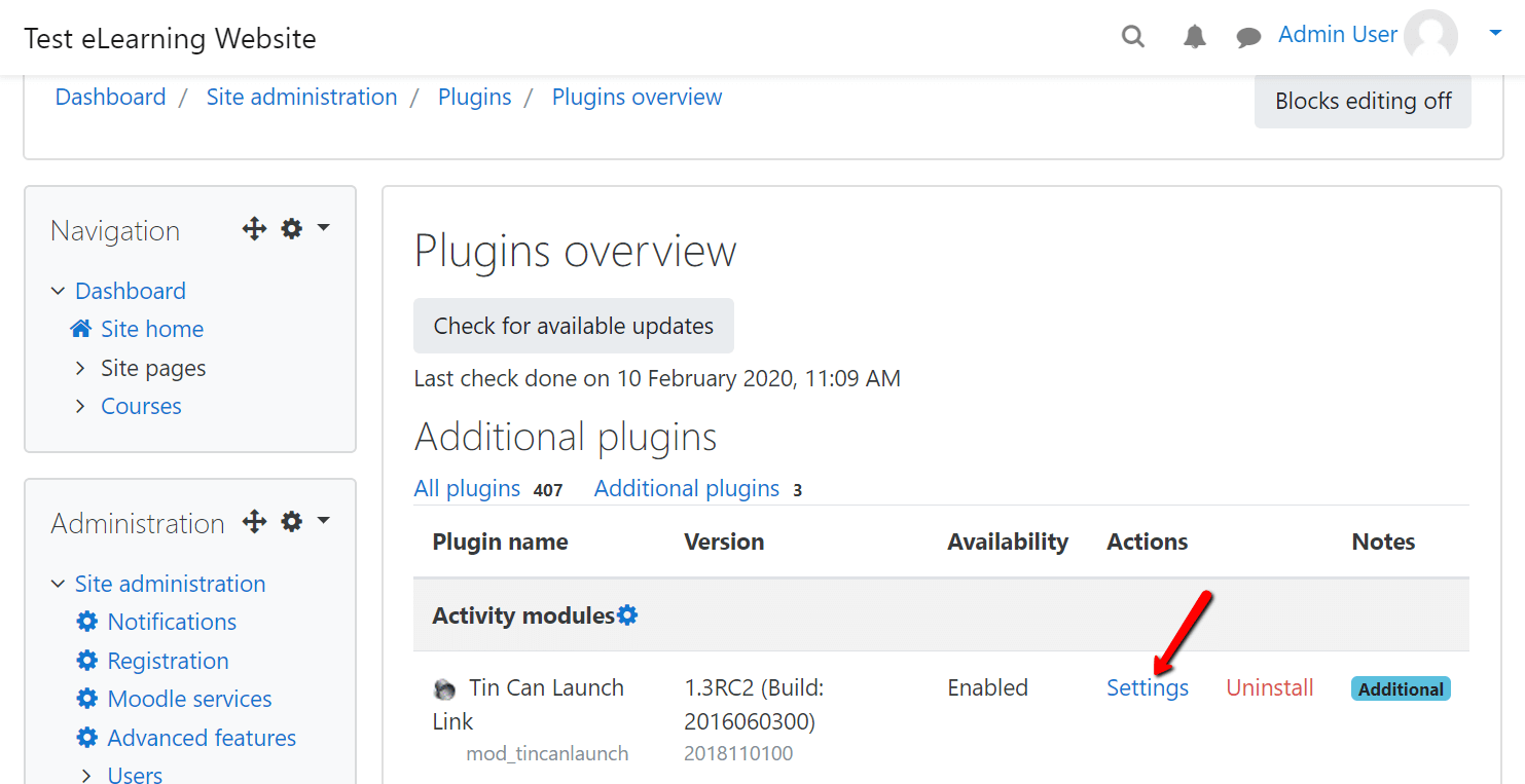 moodle plugins. TinCan Launch Link