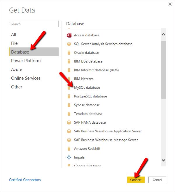 Select database type