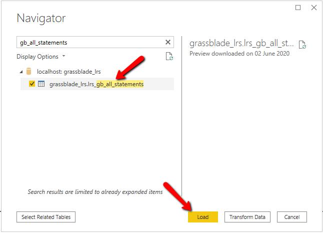 GrassBlade LRS database tables